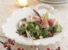 Salade de menthe grenade amandes grillées Stilton blanc et Jambon de Parme