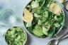 Salade verte aux lentilles du Puy petits pois concombre avocat et épinards