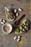 Trios de tapas : Tartine de houmous de Haricots Tarbais et courgettes grillées Velouté de Haricots Tarbais au piment d'Espelette et Haricots Tarbais au pesto