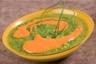 Velouté de courgettes et coulis de poivrons rouges