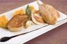Volaille de Noël foie gras poêlé et purée de patates douces au curry